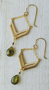 Gold Filled Chevron Earrings with Labradorite