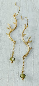 Gold Filled Antler Earrings with Swarovski Crystal