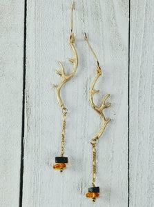 Gold Filled Antler Earrings with Amber