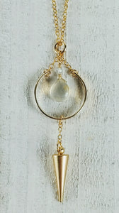 Gold Filled Hoop Point Necklace with Grey Moonstone