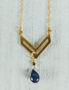 Gold Filled Chevron Necklace with Labradorite