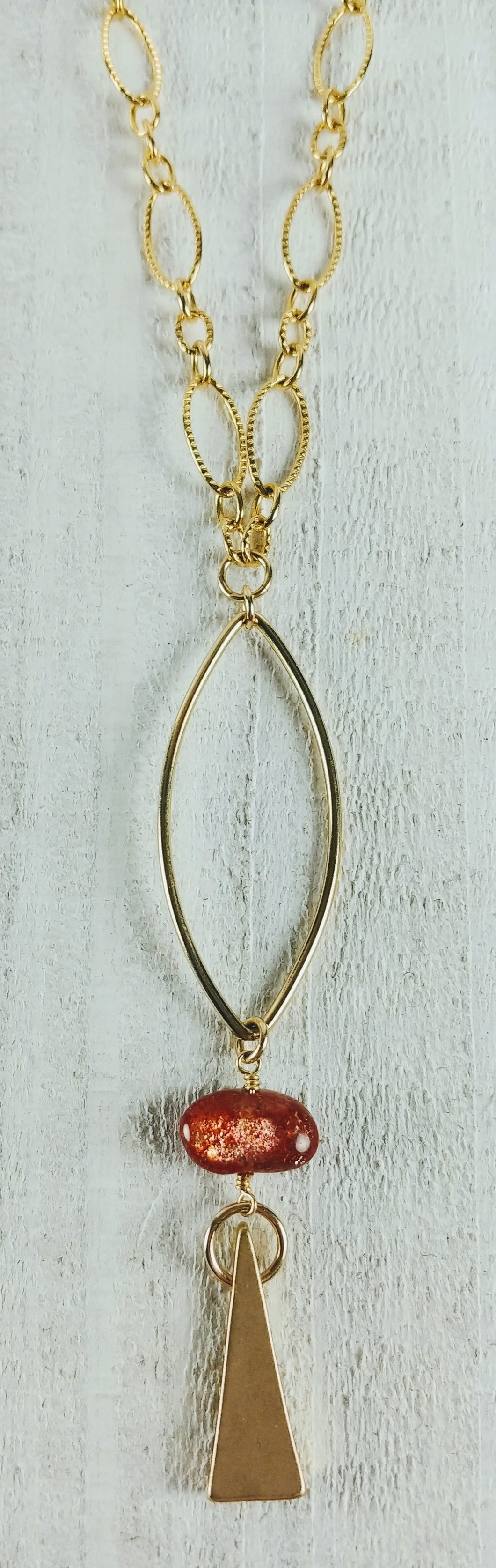 Gold Filled Oval Triangle Necklace with Sunstone