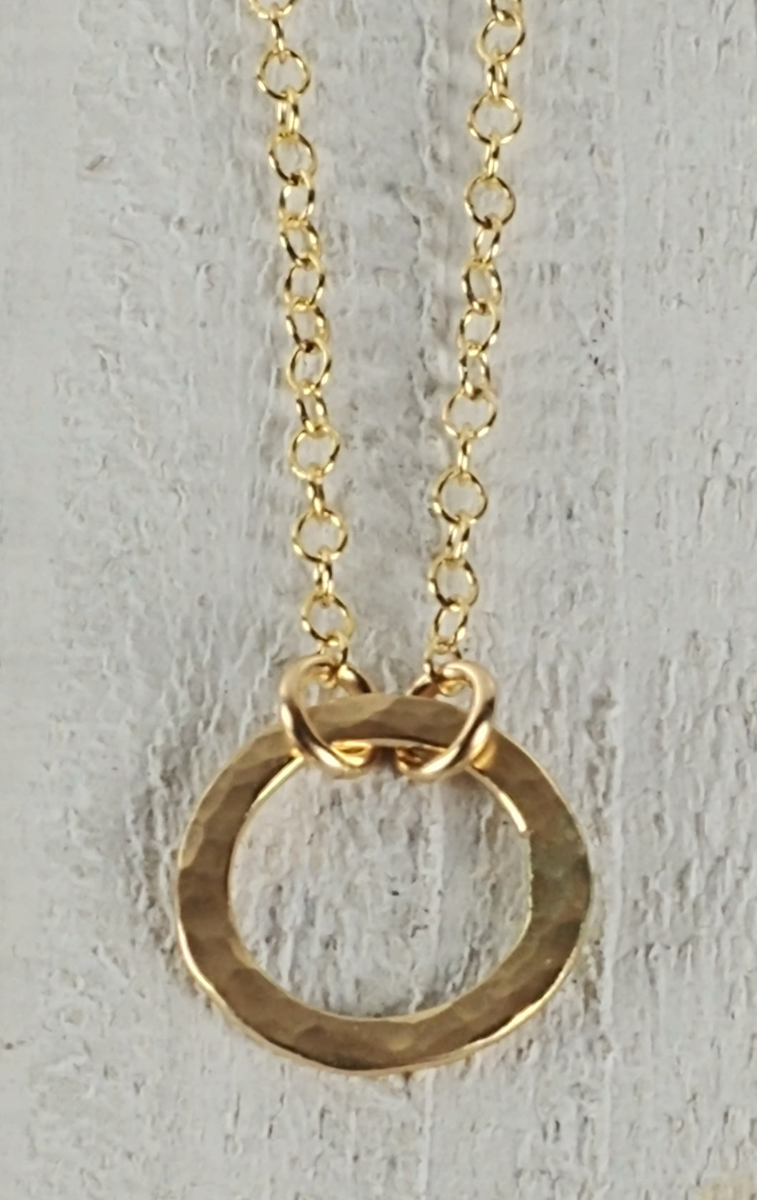 Gold Filled Hammered Circle Necklace