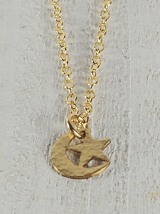 Gold Filled Necklace with Crescent Moon and Star