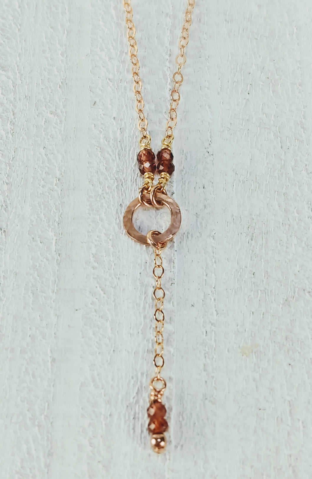 Rose Gold Filled Necklace with Garnet