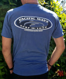 Pacific Wave Hollow Oval Men's T-Shirt Pigment Blue