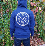 Pacific Wave Surf Club Sherpa Zip Hoodie Heather Navy