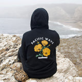 Pacific Wave California Poppy Women's Pullover Hoodie Black