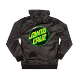 Santa Cruz Dot Hooded Windbreaker Jacket Black/Green