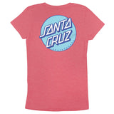 Santa Cruz Other Dot Fitted S/S Girls T-Shirt, Neon Heather Pink