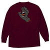 Santa Cruz Letter Hand Regular L/S Mens T-Shirt Burgundy