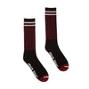 Santa Cruz Passage Mens Mid Crew Socks, Black/Burgundy