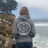 Pacific Wave Surf Club Terry Hooded Pullover Women's Sweatshirt Zinc