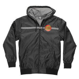 Santa Cruz Dot Hooded Windbreaker Jacket Black