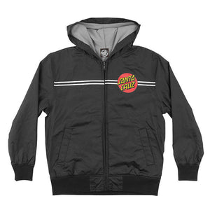 Santa Cruz Classic Dot Hooded Windbreaker Jacket Youth Black