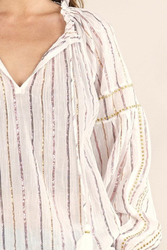 Long Sleeve Metallic Stripe Top