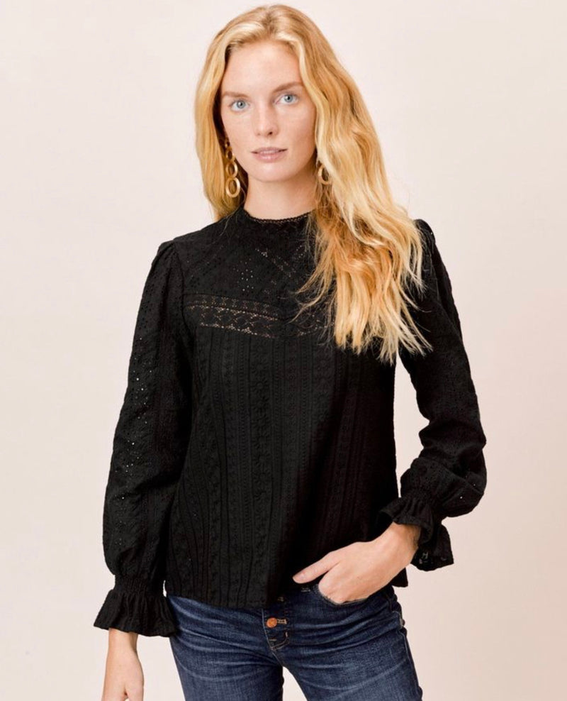 Black eyelet long sleeve top