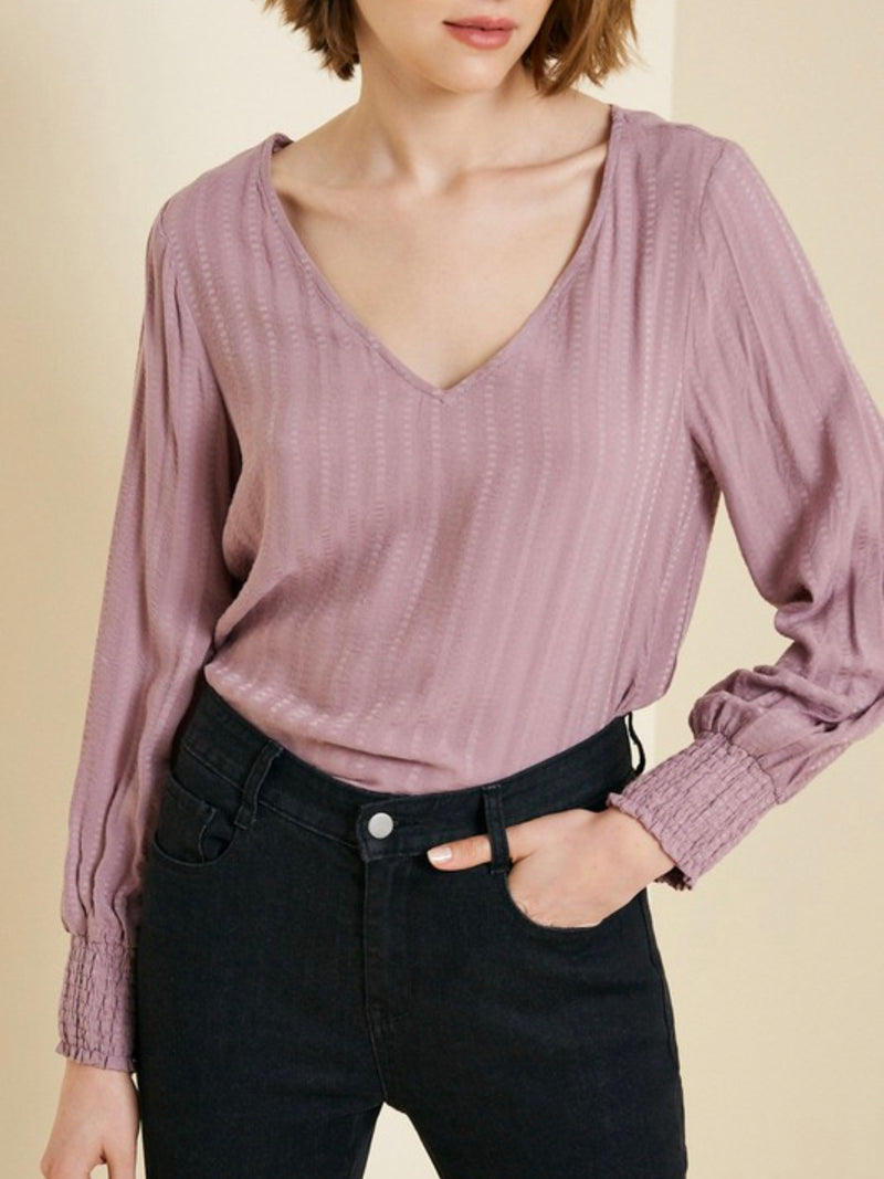 Mauve long-sleeve smocked top