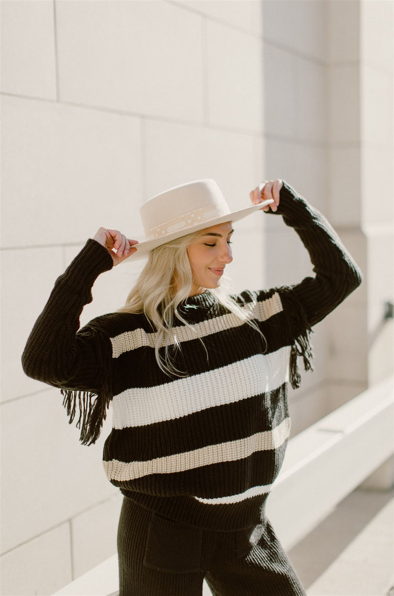 Black Fringe Sleeve Sweater