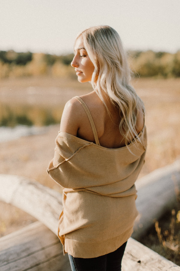 Golden Hour knit tank + cardigan sweater set