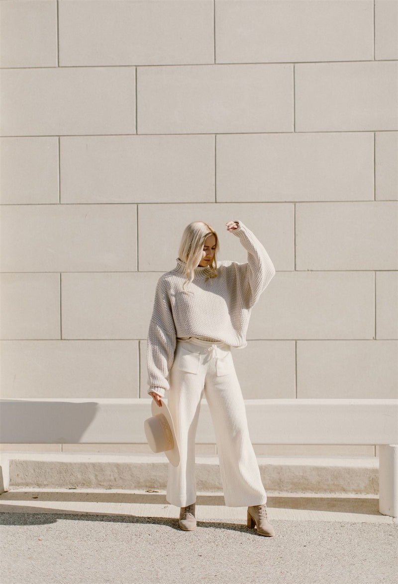 White Woven Sweater Pants