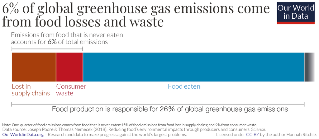 6% of global greenhouse gas emissions come from food losses and waste.