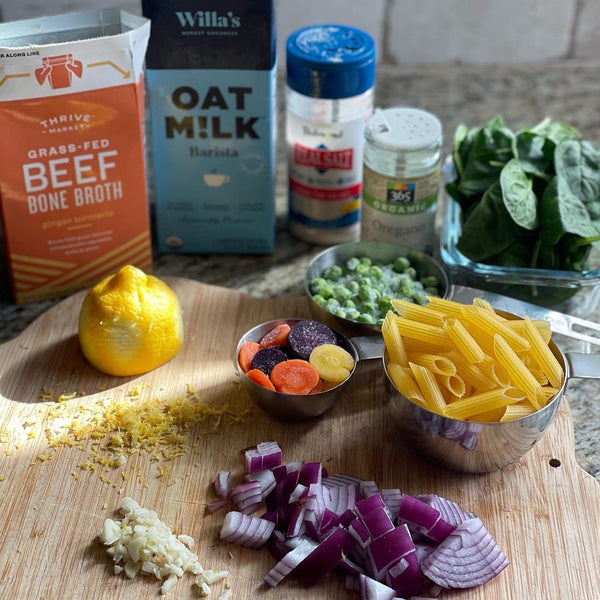 Pasta ingredients prepped on countertop