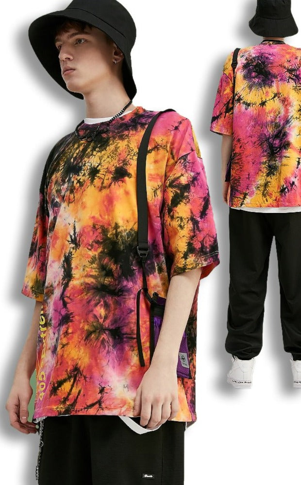 Couleur Large Coupe Large T-Shirt Streetwear Hip-Hop Manches Courtes
