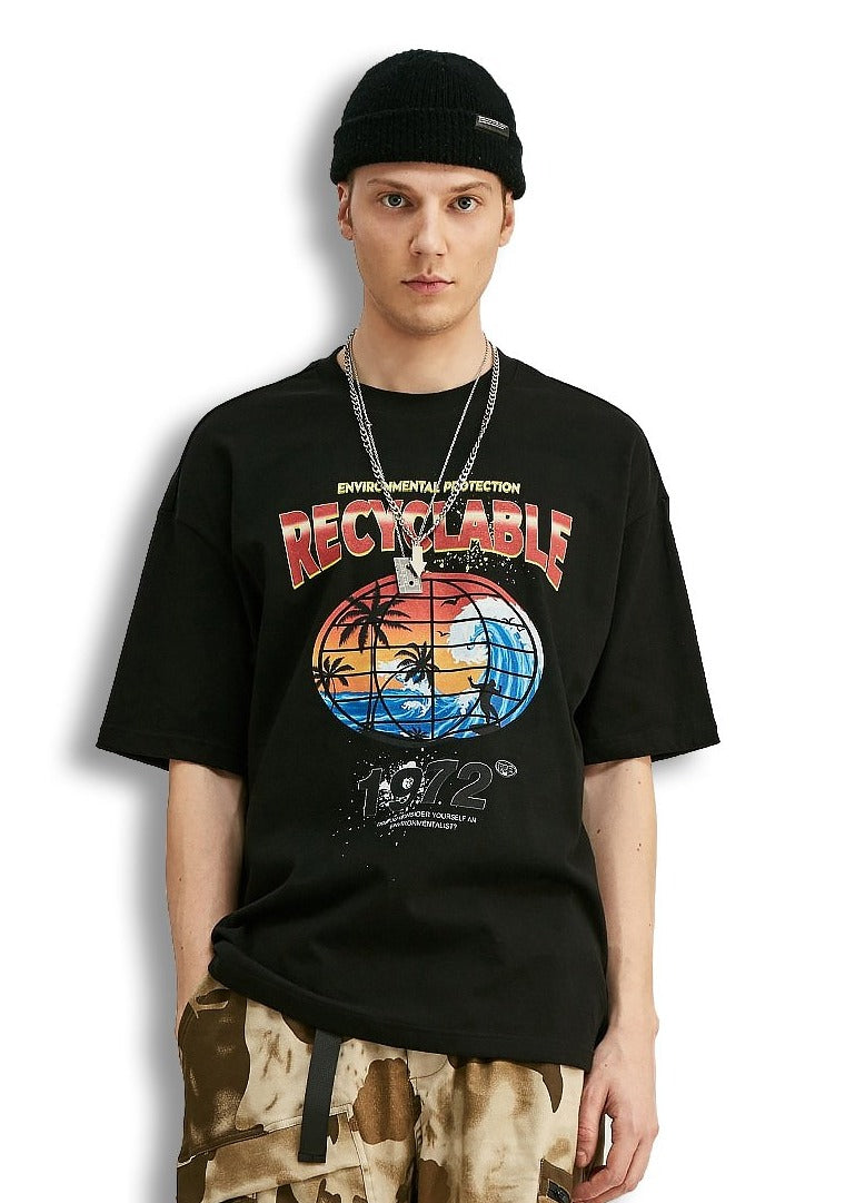 Recyclable impression t-shirt large t-shirt coton col rond hip-hop