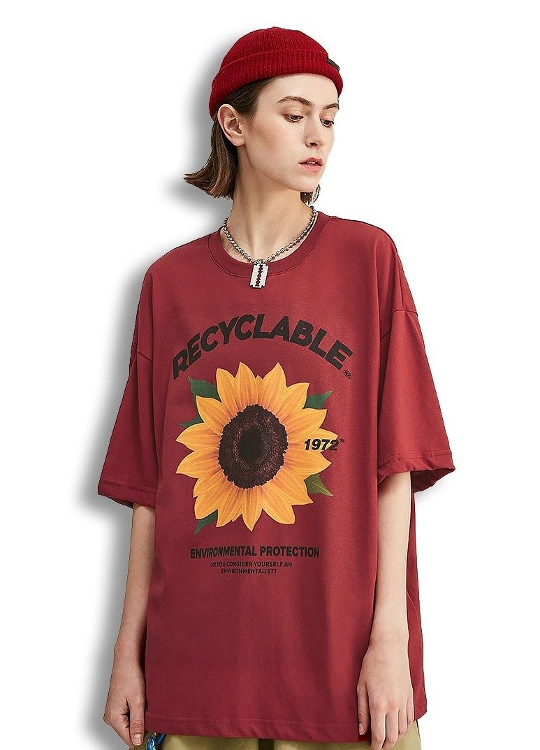 T-shirt tournesol imprimé t-shirt large hip-hop t-shirt 100%