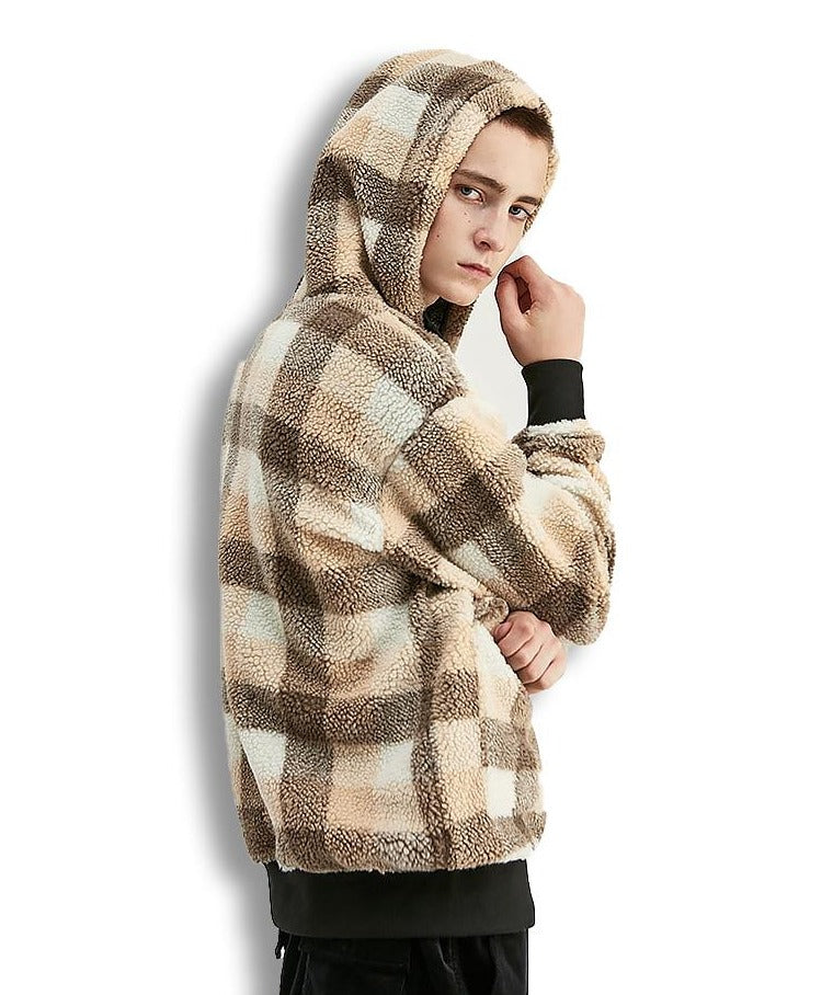 Sweat à capuche streetwear chaud style plaid polaire