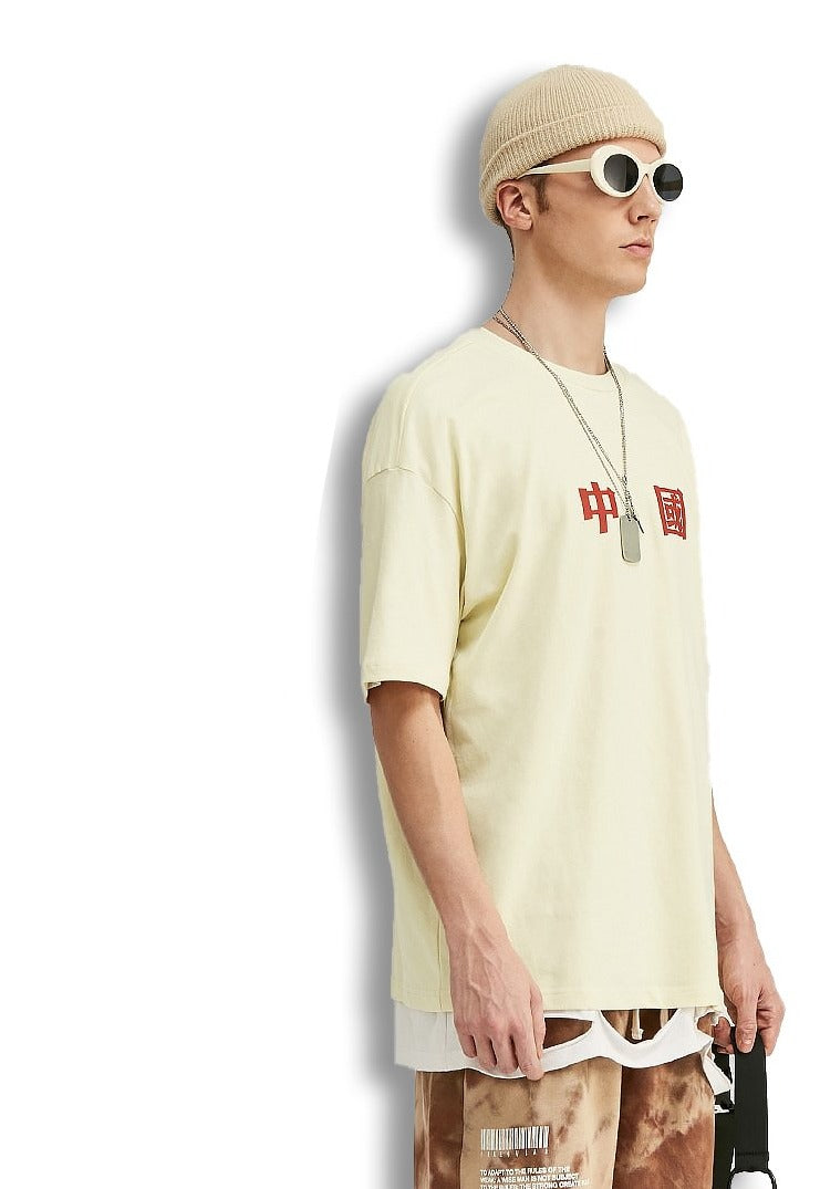 T-shirt impressions chinois coton manches courtes