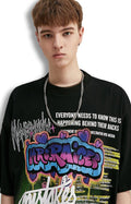 T-shirt graffiti impression coton col rond hip-hop manches courtes