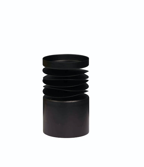 Candle Holder Metal Short Black