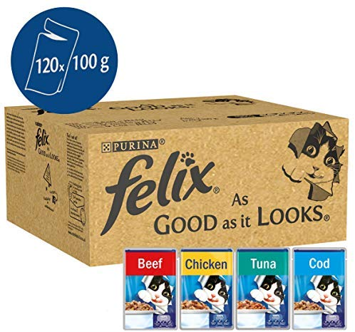 Felix As Good As It Looks Cat Pouches Mixed In Jelly - 100g (120 Pouches)