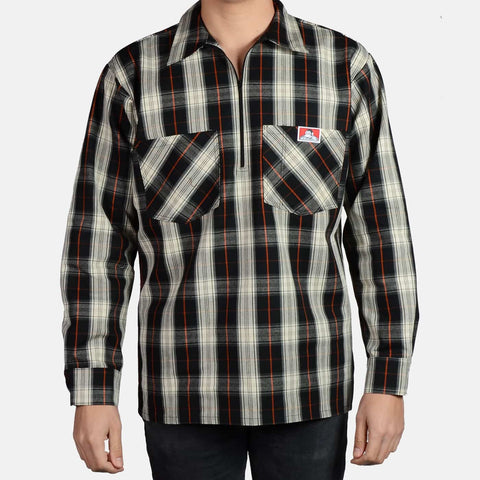 Long Sleeve Plaid, 1/2 Zip