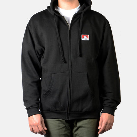 Hooded Zip Sweatshirt with Logo - Black - basicsclothing