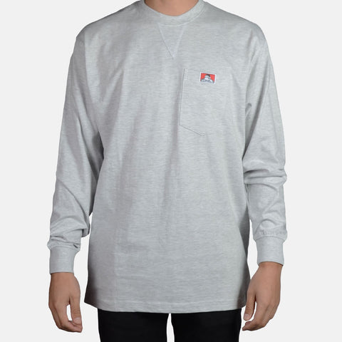 Classic Label Long Sleeve Heavy Duty Pocket T-Shirt - basicsclothing