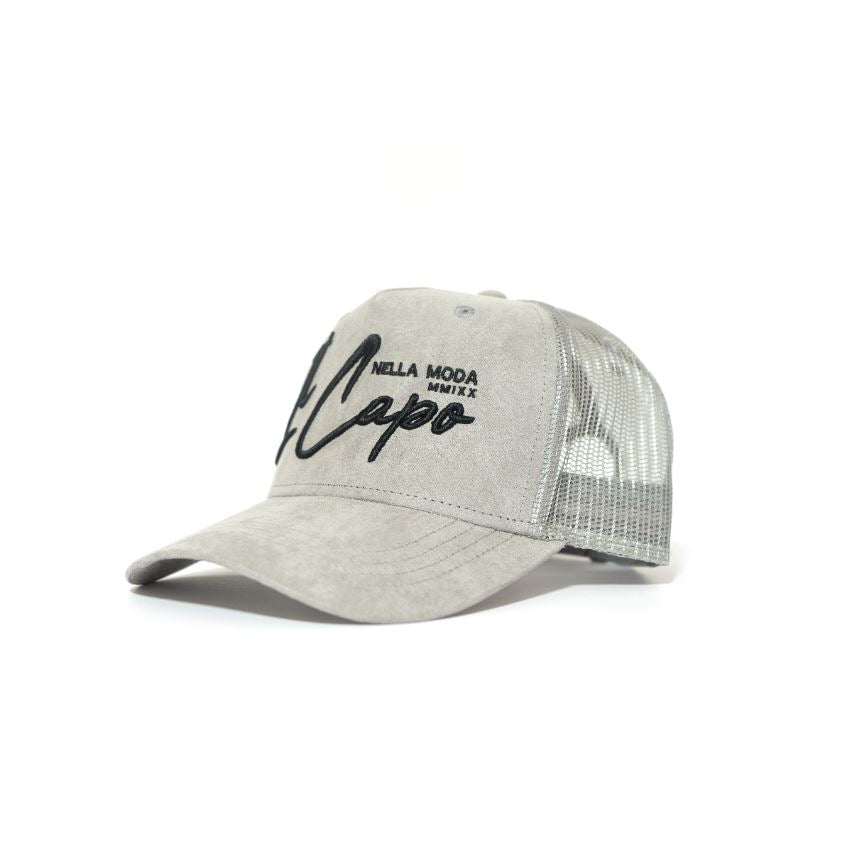 IL Capo Suede Trucker Cap Grey - Black