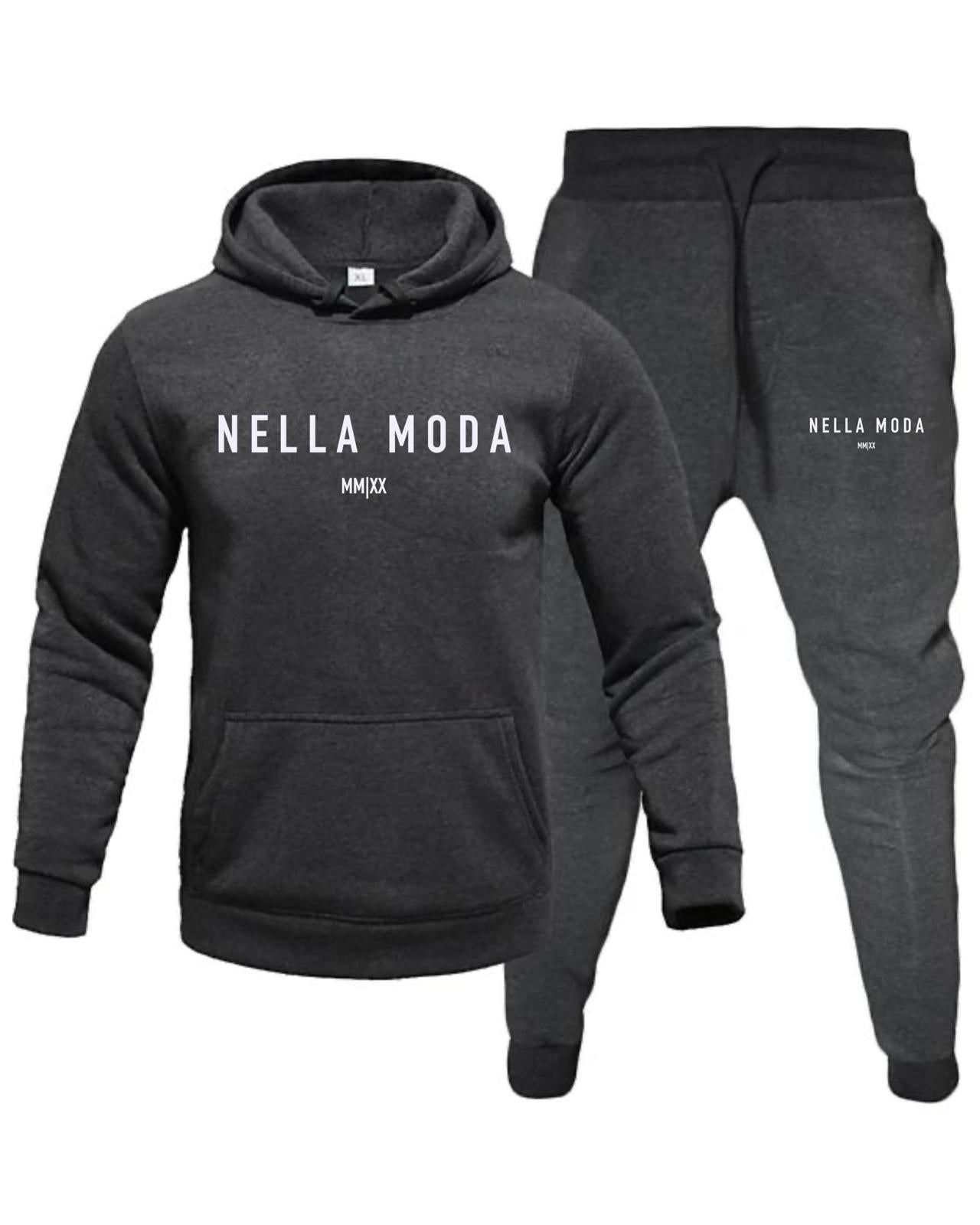 Nella Moda Slim Fit Hooded Tracksuit -  Dark Grey