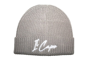 Il Capo Signature Unisex Knit Ribbed Beanie Hat - Light Grey