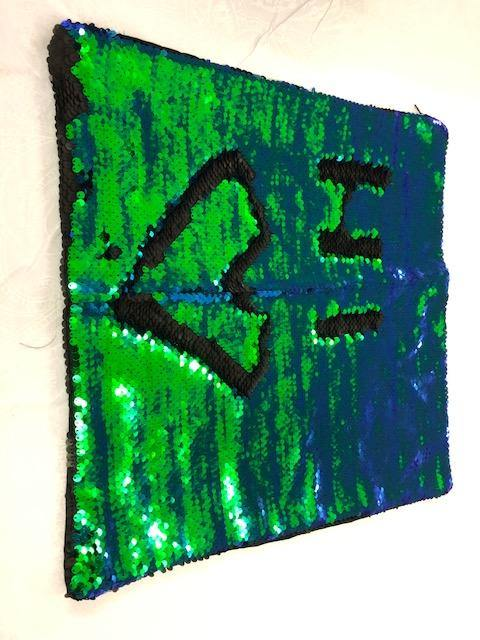 Blue/ Green sequin cushion 3 kg WAS $55 NOW $40