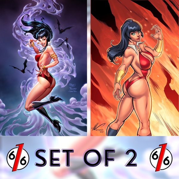 🚨🦇🔥 VAMPIRELLA #16 SET OF 2 SMOKE & FIRE Royle & Garza Virgin Variants COA