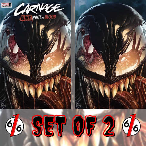 🚨🔥 CARNAGE BLACK WHITE AND BLOOD #1 MICO SUAYAN Variant Set Of 2 Trade Virgin