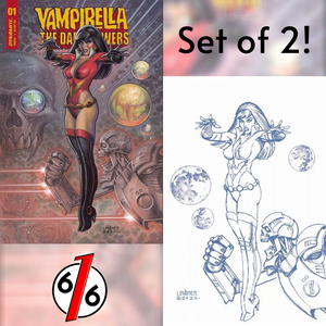 🔥🦇 VAMPIRELLA THE DARK POWERS #1 SET OF 2 Cover C + 1:25 Linsner Color Sketch