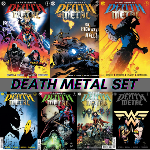 🚨💀🔥 DARK NIGHTS DEATH METAL #1-7 COMPLETE SET OF 7 Main Foil Covers NM Gemini