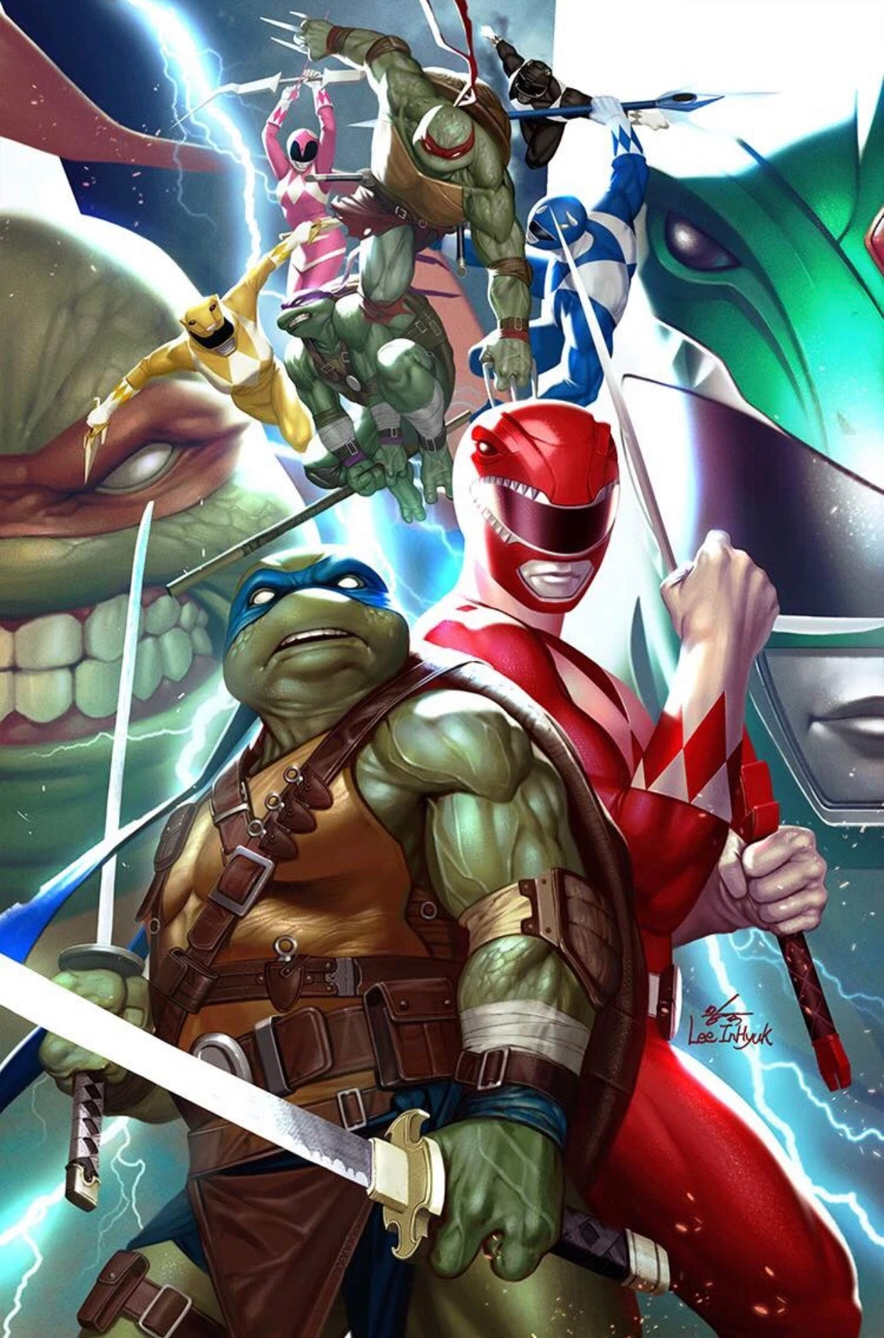 🚨🔥🐢 POWER RANGERS TMNT #1 INHYUK LEE Virgin Variant NM Gemini Shipping
