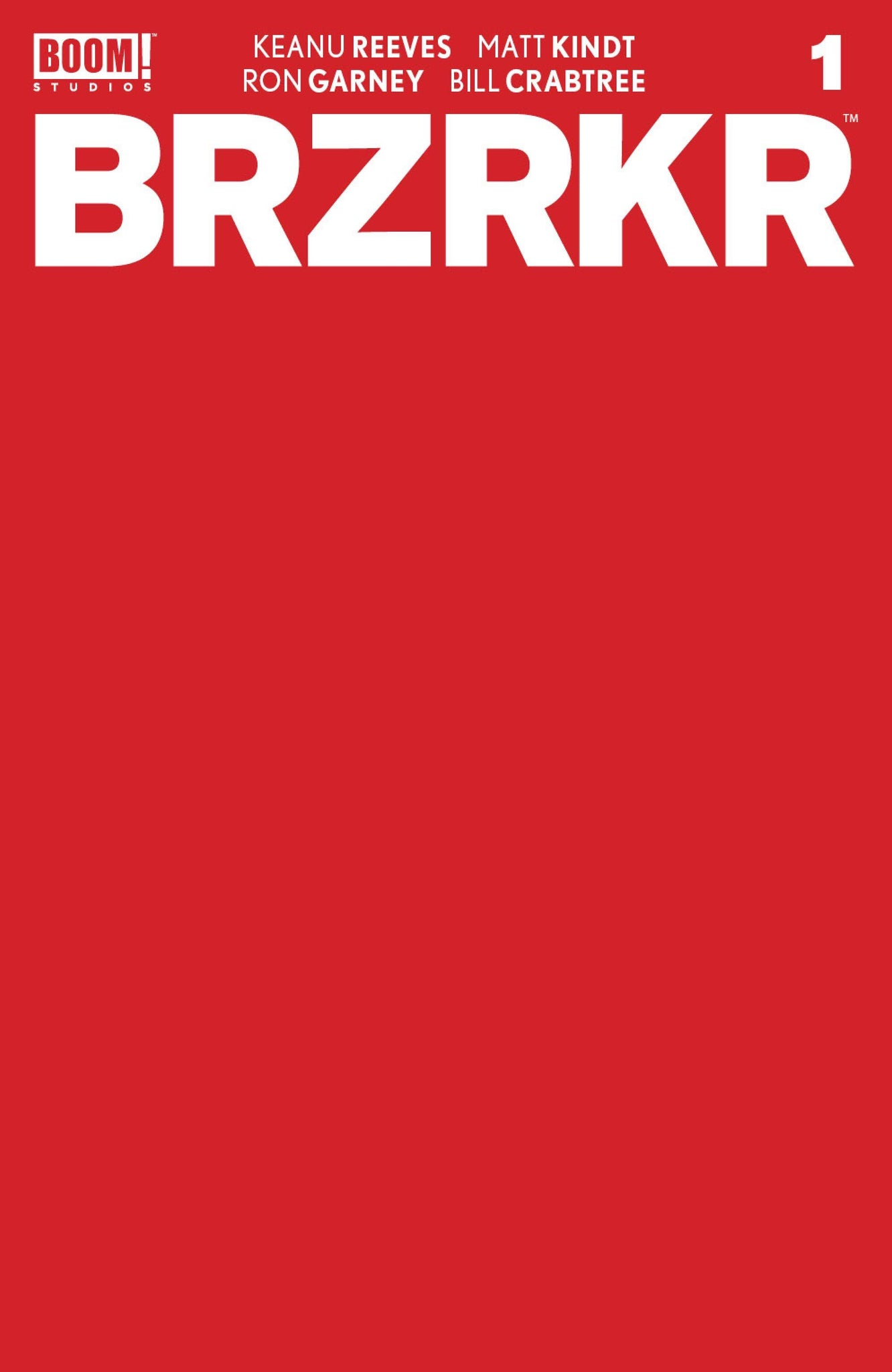 BRZRKR #1 1:10 RED BLANK SKETCH Variant Cover F