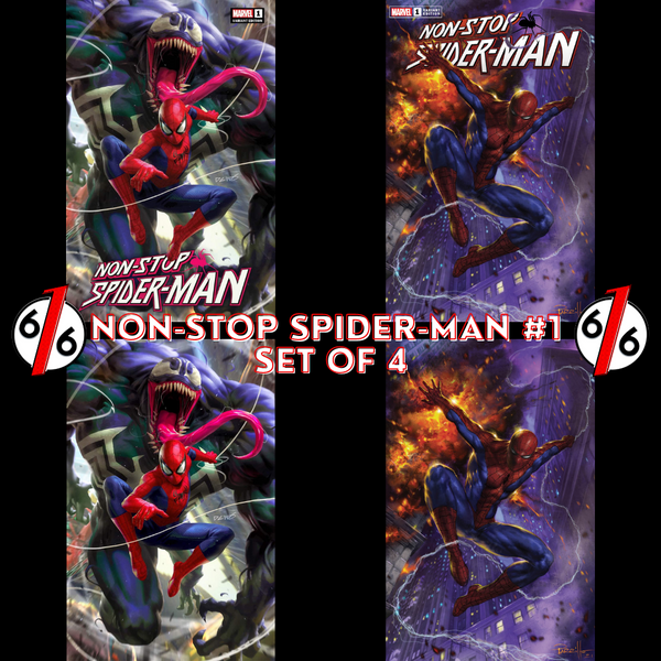 NON-STOP SPIDER-MAN #1 PARRILLO & CHEW VARIANT SET OF 4 616 Exclusives LTD 1000