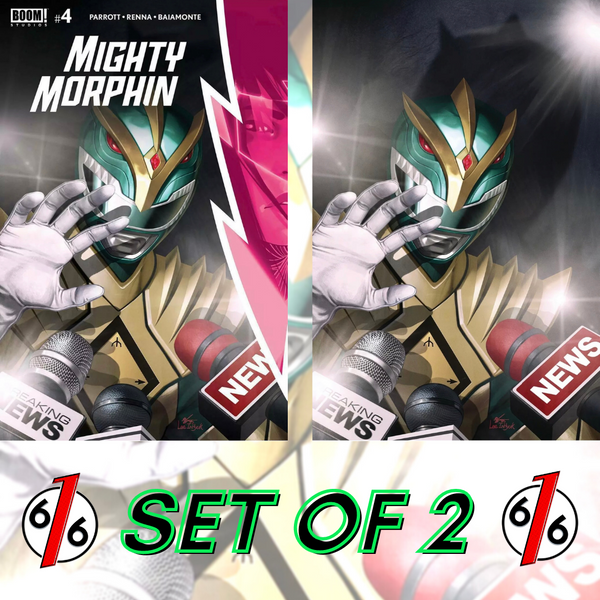 🚨🔥 MIGHTY MORPHIN #4 INHYUK LEE SET OF 2 1:10 Virgin Variant & Main Cover NM